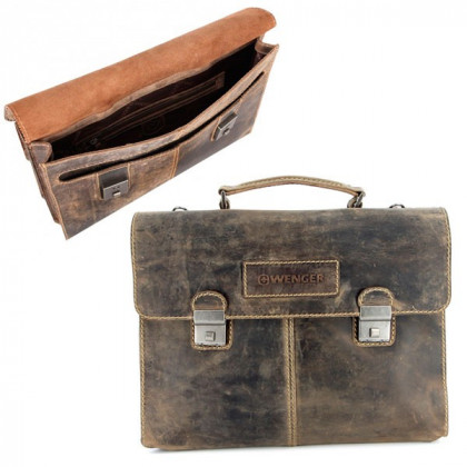 "Портфель двусторонний WENGER ""STONEHIDE"", коричневый, кожа, 40x29x13 см \ W16-10"