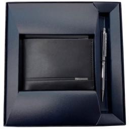 Набор Cross Century Classic: портмоне, черная кожа + шариковая ручка, цвет - серебристый \ AC018068
