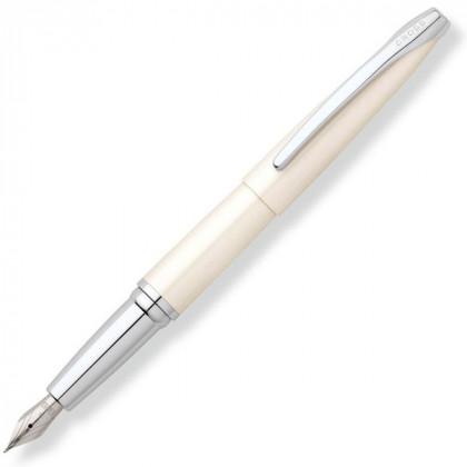 Перьевая ручка Cross ATX. Цвет - жемчужный белый. Перо - сталь, тонкое. \ 886-38FS