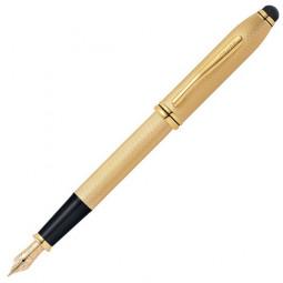 Перьевая ручка Cross Townsend со стилусом 8мм. Цвет - золотистый, перо - золото 18К Solid Gold/родий \ AT0046-42MD