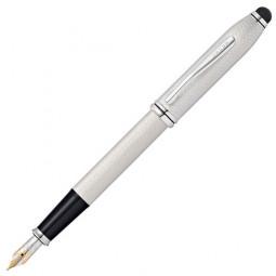 Перьевая ручка Cross Townsend со стилусом 8мм. Цвет - платиновый, перо - золото 18К Solid Gold/родий \ AT0046-43MD