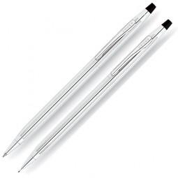 Набор Cross Century Classic: шариковая ручка и механический карандаш 0.7мм. Цвет - серебристый. \ 350105