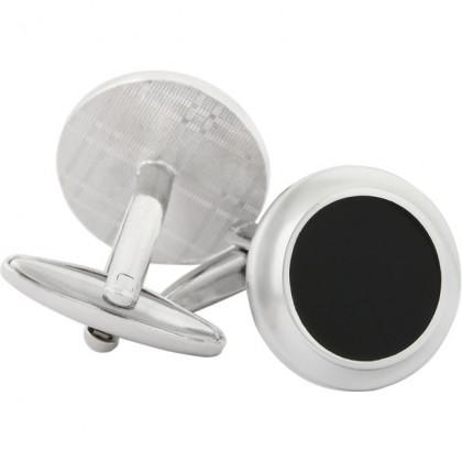 Запонки круглые черный лак посеребрение Gran Carro Gemelli \ GC6128300