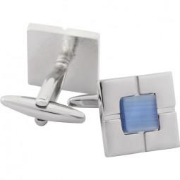Запонки вставка голубая посеребрение Gran Carro Gemelli \ GC6225401