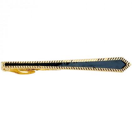 Заколка для галстука черный лак позолота Gran Carro Cravatta Clip \ GC7303156