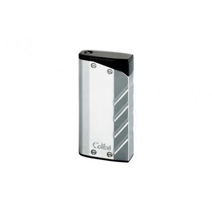 Зажигалка Colibri Torque silver finish with a matte black/double jet flame \ CB LI-300T004