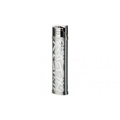 Набор зажигалка Givenchy Dia silver Shiny/white 4G logo и чехол для сигарет \ GV G28-2010