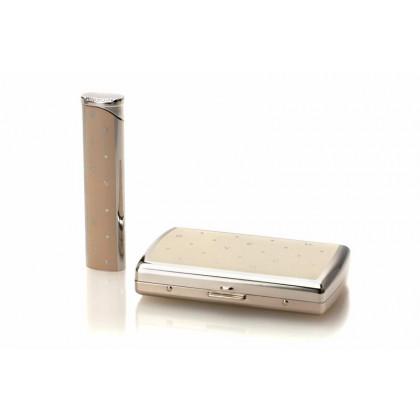 Подарочный набор Givenchy портсигар и зажигалка POLKA DOTS IVORY/DIA-SILVER \ GV GC3-0006/G3255