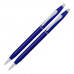 Набор Cross Classic Century Translucent Blue Lacquer: шариковая ручка и механический карандаш 0.7мм, \ AT0081-112