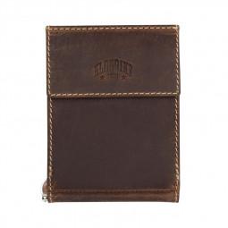 Бумажник KLONDIKE Yukon, с зажимом для денег, натуральная кожа в коричневом цвете, 12 х 1,5 х 9 см \ KD1114-03