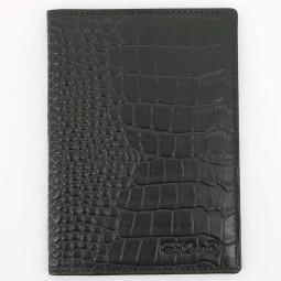 Обложка для паспорта S.Quire, черная, фактурная \ 6400-BK CROCO
