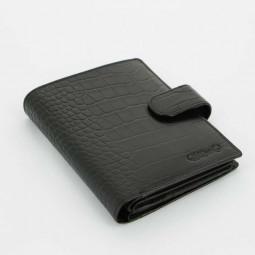 Портмоне большое S.Quire, черное, фактурное \ 6100-BK CROCO