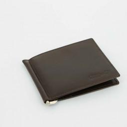 Портмоне S.Quire с клипом для денег, коричневое, гладкое \ 5700-BR VT