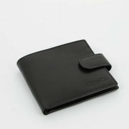 Портмоне классический S.Quire, натуральная кожа, черный, гладкая \ 5900-BK VT