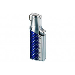 Зажигалка газовая Sarome SC1 Silver Satin & Blue Plated \ SR SC1-05