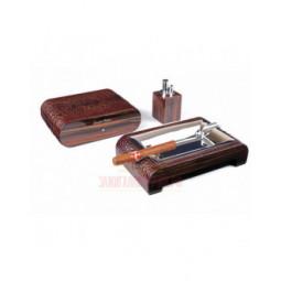 Настольный набор сигарных аксессуаров Gentili \ SET-SV10-Croco-Brown