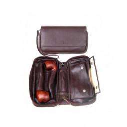 Сумка P&A для 2 трубок и табака, натуральная кожа, подарочная упаковка, коричневая \ 414-M