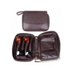 Сумка P&A для 4 трубок и табака, натуральная кожа, подарочная упаковка, коричневая \ 418-M