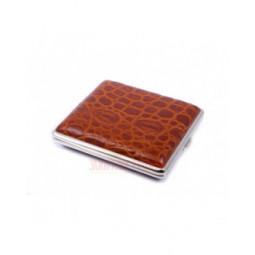 Портсигар Stoll на 18 сигарет, натуральная кожа, Крокодил светло-коричневый \ C09-11