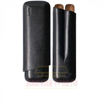 Футляр для сигар Colibri /2 Black Stitch/Ring-56/ Lth 160/190 \ CB C-10010CC