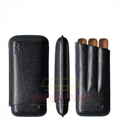 Футляр для сигар Colibri /3 Black Stitch/Ring-49/ Lth 120/150 \ CB C-10020CC