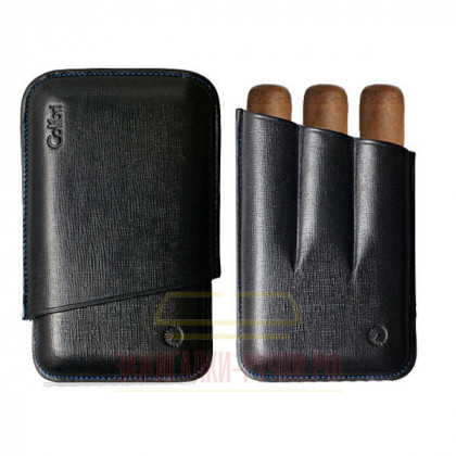 Футляр для сигар Colibri /3 Black Stitch/Ring-56/ Lth 90/125 \ CB C-10030CC